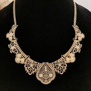 Gold Filigree Bohemian Statement Necklace